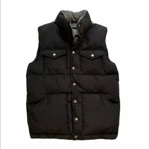 J Crew Button Snap Up Down Filled Faded Black Vest